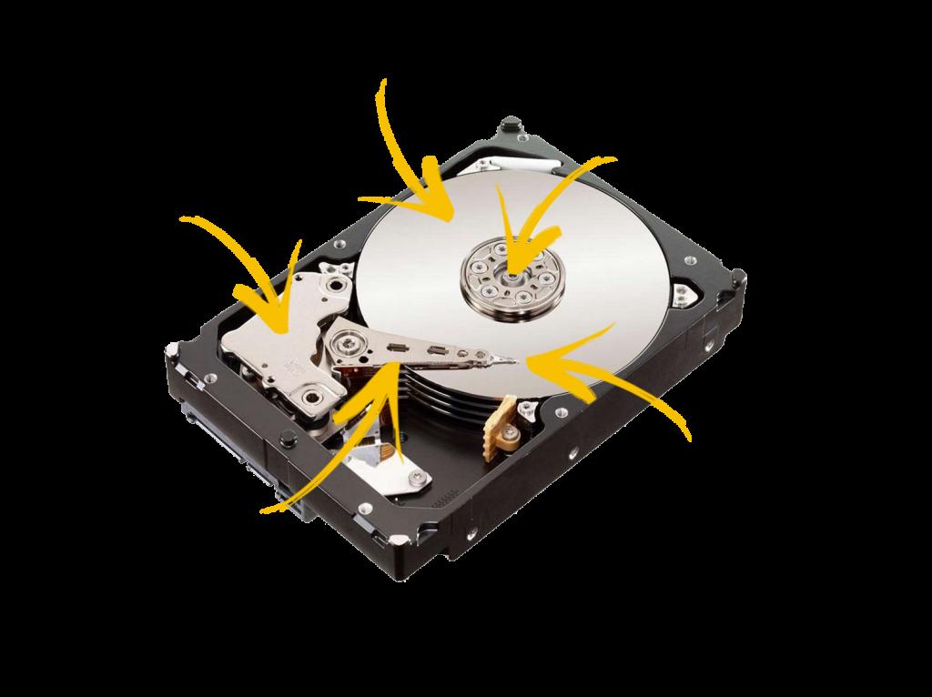 Vue éclaté d'un disque dur interne à disque de stockage interne