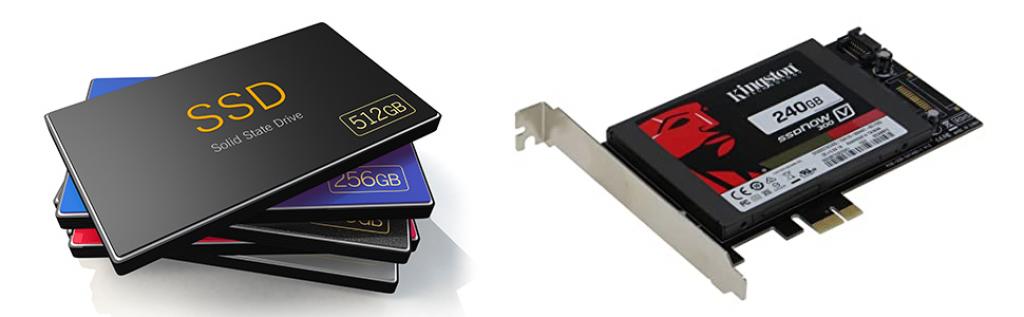 Modèle de disque SSD à gauche  - Modèle de carte SSD PCI Express interne à droite