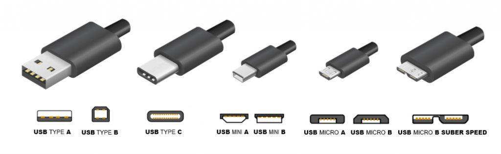Modèles de différentes connectiques  de type USB