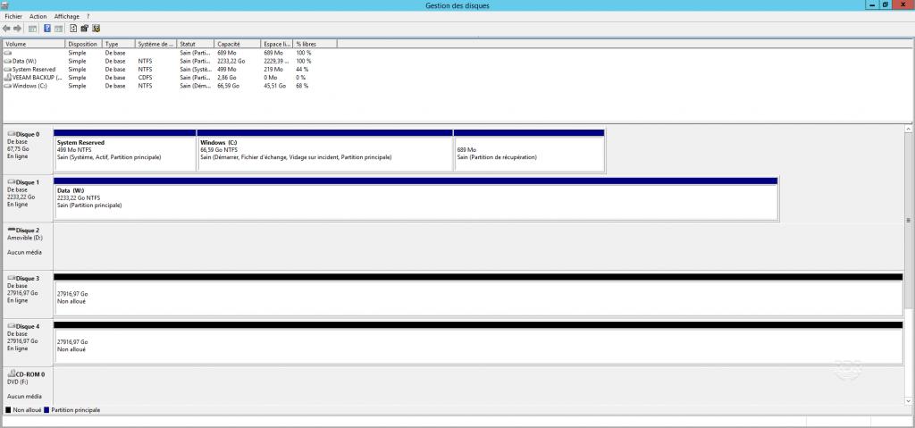 Fenêtre des gestion des disques sur Windows avant formatage.